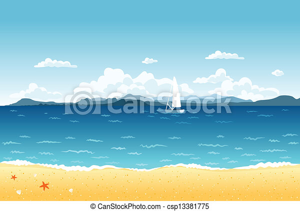 Summer blue sea landscape with sailing boat and mountains on the horizon. - csp13381775