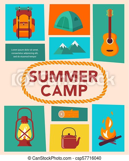summer camp children vacation traveling and family camping