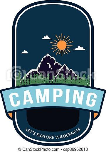 Summer camping badge design - csp36952618