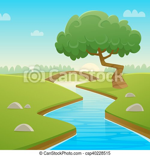 Summer Cartoon Landscape Cartoon Illustration Of Summer Rural Landscape With Bridge Over The River And Tree Canstock Animation of a cartoon seamless country landscape, with agriculture fields, parallax motion effect, trees, clouds and smoke shapes. https www canstockphoto com summer cartoon landscape 40228515 html