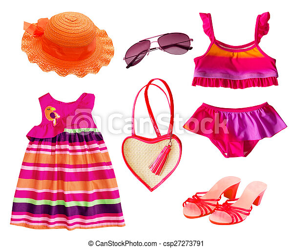 e0570a9770 Summer clothes collage.isolated. Summer clothes collage.girl fashion ...