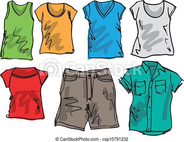 summer clothing sketch collection vector illustration Chicken Clip Art Clip Art
