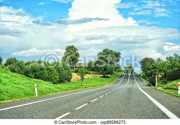 Summer Country Road With Trees Beside Concept - csp88589273