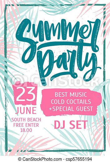 summer dance party invitation flyer or poster template with