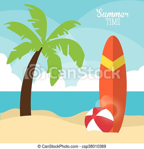 Summer design. palm tree and surf table icon. graphic vector - csp38010369