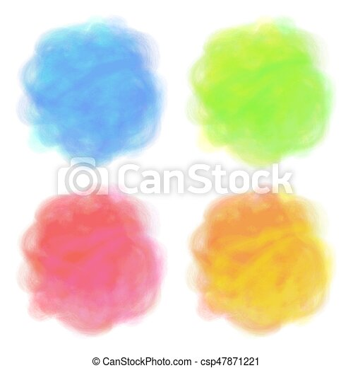 Summer design. Set of 4 bright spots. Pseudo watercolor stains. Round elements with paint texture - csp47871221