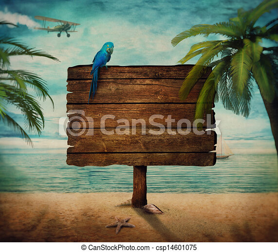 Summer design - Sign with sea view - csp14601075
