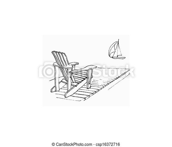 adirondack chair clipart. stock illustration summer dock adirondack chair clipart a