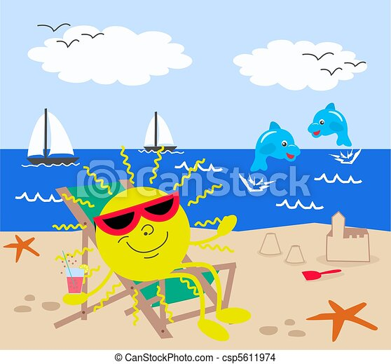 Summer Holiday On The Beach Drawing
