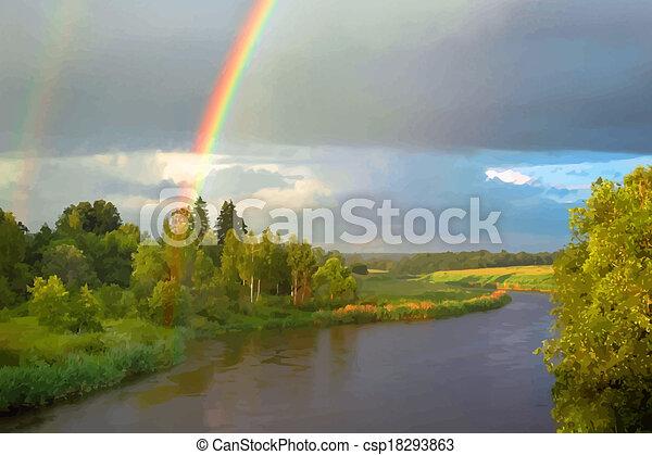 Summer evening landscape with rainbow - csp18293863
