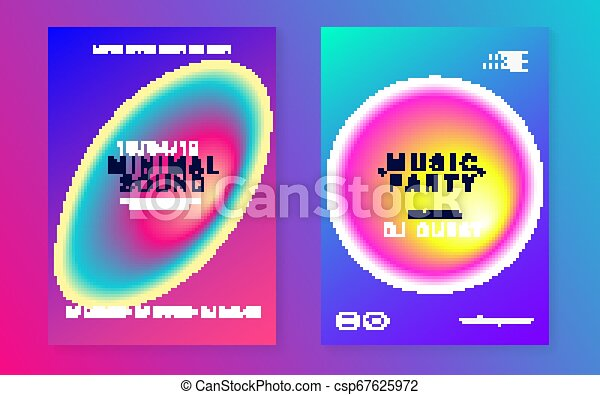 Music Poster Set Creative Disco Club Banner Template Fluid Holographic Gradient Shape And Line Electronic Sound Night