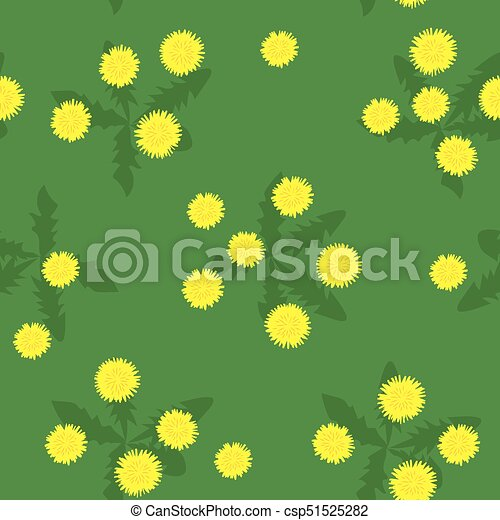 Summer field of yellow dandelions seamless pattern - csp51525282
