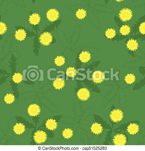Summer field of yellow dandelions seamless pattern - csp51525283
