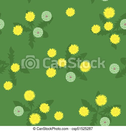 Summer field of yellow dandelions seamless pattern - csp51525287