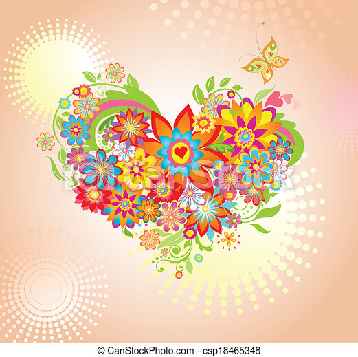 Summer floral bouquet - csp18465348