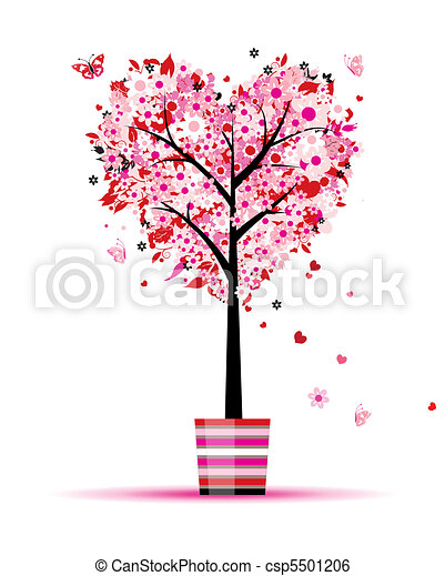 Summer floral tree, heart shape in pot for your design - csp5501206
