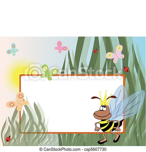 Summer frame with bee - csp5607730