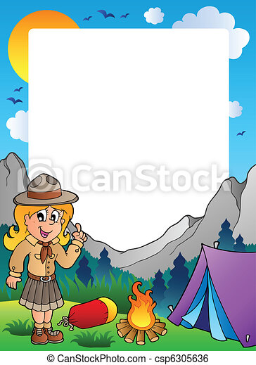 Summer frame with scout theme 2 - csp6305636