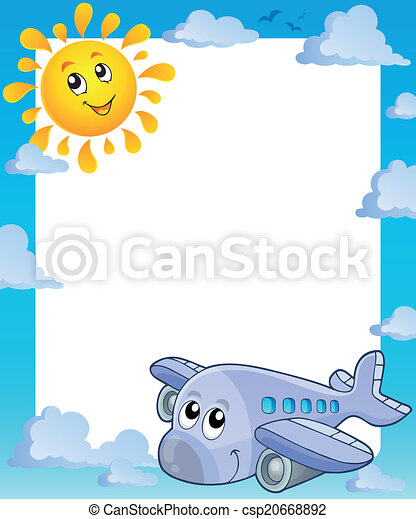 Summer frame with sun and airplane - csp20668892