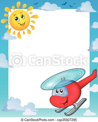 Summer frame with sun and helicopter - csp35927295