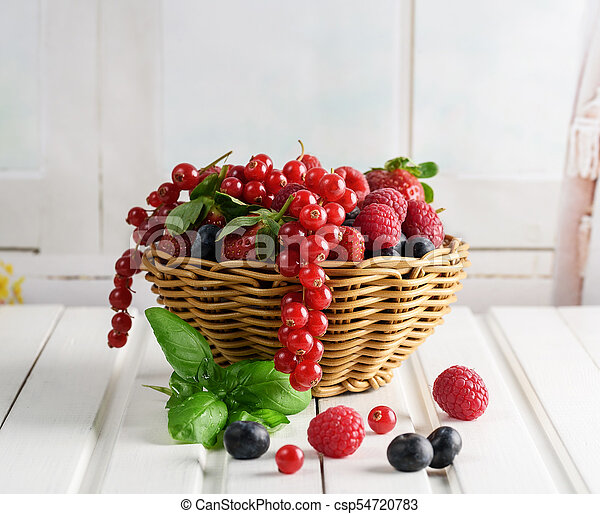 summer fruit, raspberry, blueberry, and strawberry - csp54720783