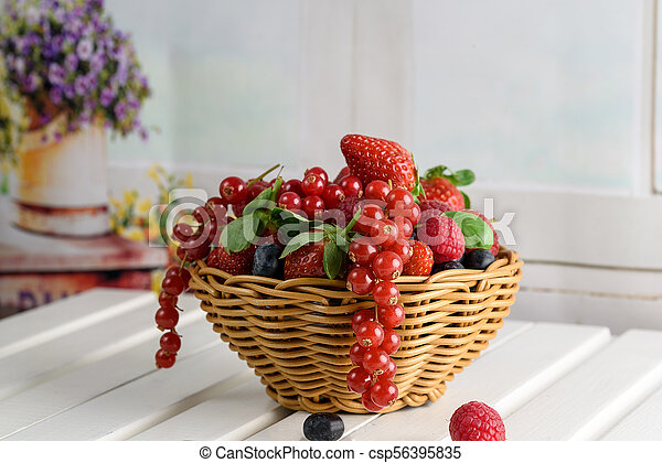 summer fruit, raspberry, blueberry, and strawberry - csp56395835