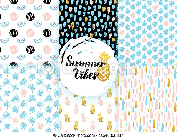 Summer Funky Seamless Patterns - csp48808337