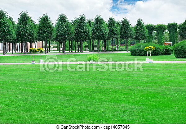 summer garden with beautiful lawns and avenues - csp14057345