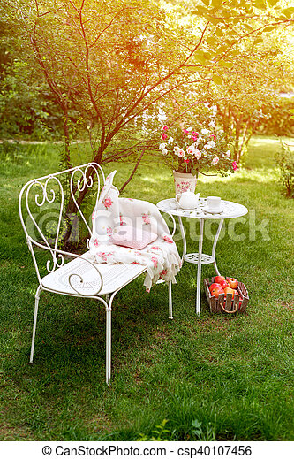 Summer Garden With Tea Party Setting Outdoor Decorations Summer