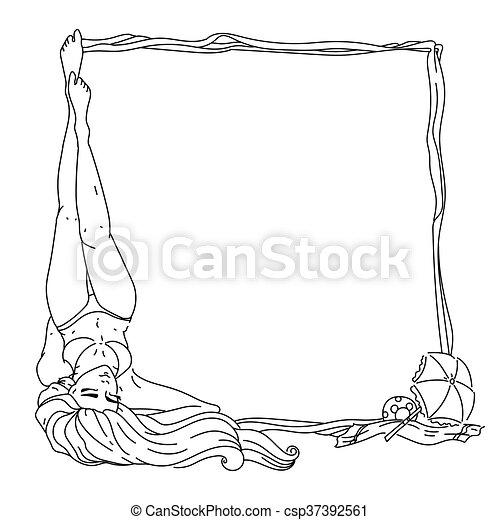 Summer girl frame - csp37392561