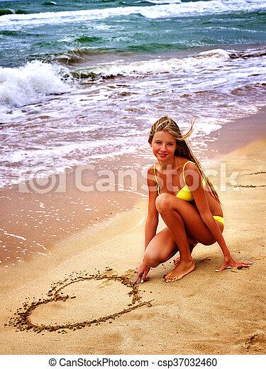 summer girl sea look on water - csp37032460