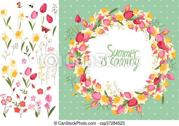 Summer Greeting Card Phrase Summer Is Coming Tulips Roses And Daffodils Template For Your Design Festive Greeting Cards
