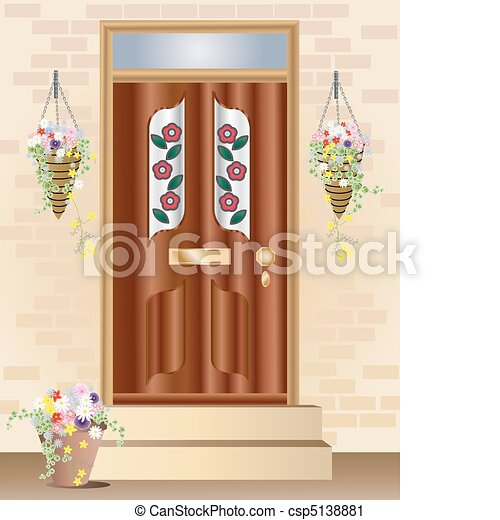 front door clipart. An Illustration Of A Fancy Front Door With Summer Hanging Vector Clipart