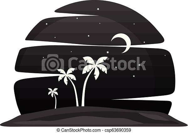 Summer Holiday Beach Night View Vector Art Canstock