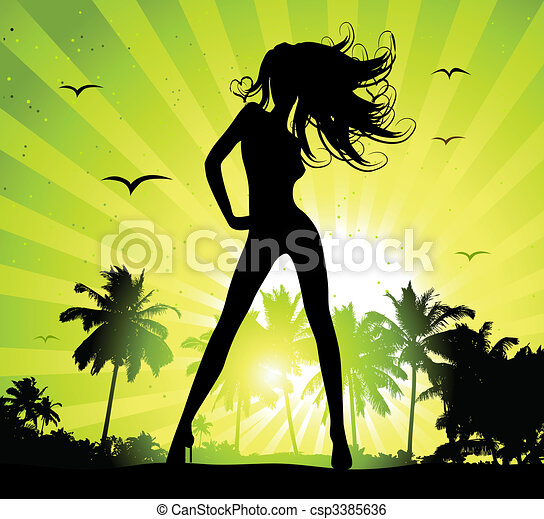 Summer holiday, beautiful girl silhouette on sunset - csp3385636