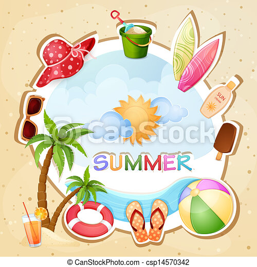 Summer Holiday Illustration With Palm Trees Eps Vector