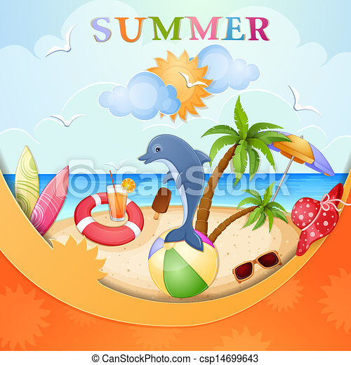 Summer Holiday Illustration With Dolphin Eps Vector