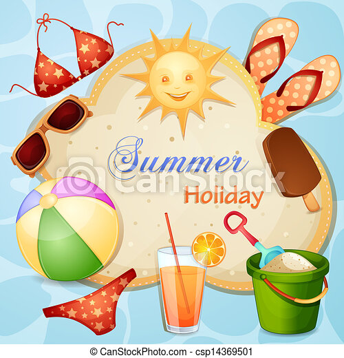 Summer holiday illustration with cute sun vector clipart ...