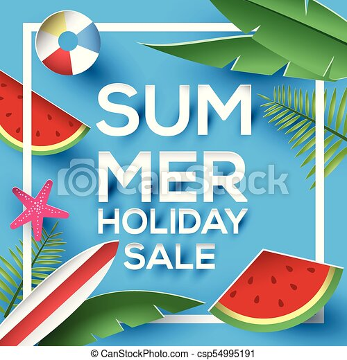 paper style summer holiday sale sign