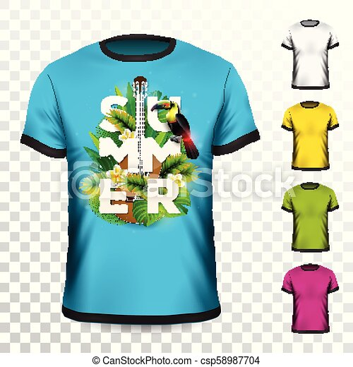 Summer Holiday T Shirt Design With Tropical Leaves Flower Acoustic Guitar And Toucan Bird On Transparent Background Vector Canstock Branded t shirts fashion brands palm tropical leaves plants mens tops stuff to buy flora. https www canstockphoto com summer holiday t shirt design with 58987704 html