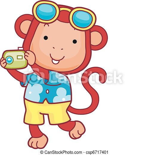 summer holiday illustration of a monkey holding a camera vector rh canstockphoto com summer holiday pictures clip art