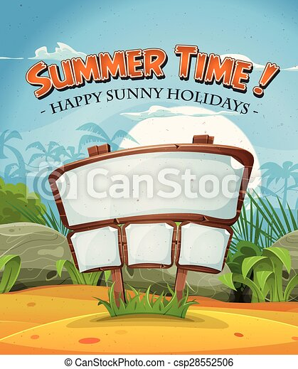 Summer Holidays Beach Landscape With Wood Sign - csp28552506