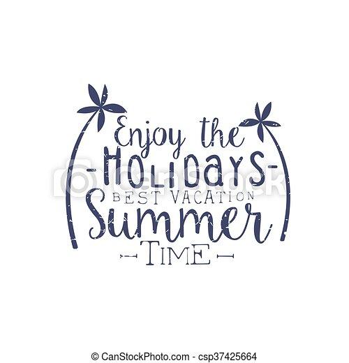 Summer Holidays Black And White Vintage Emblem