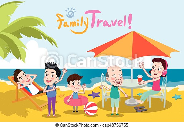 Summer Holidays Vector Illustrationflat Design Family Travel And Beach Concept