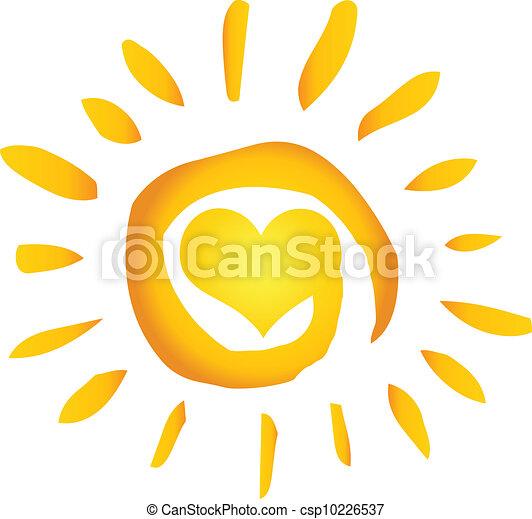 Summer Hot Abstract Sun With Heart - csp10226537