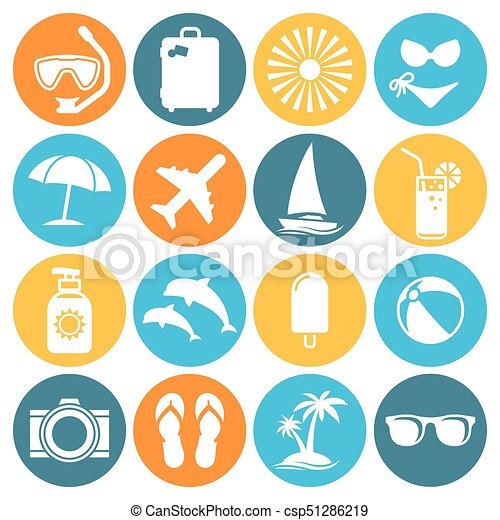 summer icon set colour icons on a white background https www canstockphoto com summer icon set 51286219 html