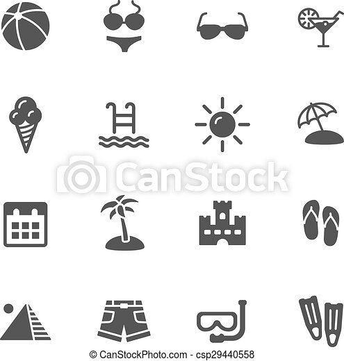 summer icons summer vacation icons simple flat vector icons set on white background https www canstockphoto com summer icons 29440558 html