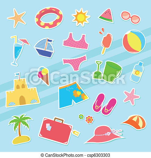 set of cute summer icons https www canstockphoto com summer icons 6303303 html