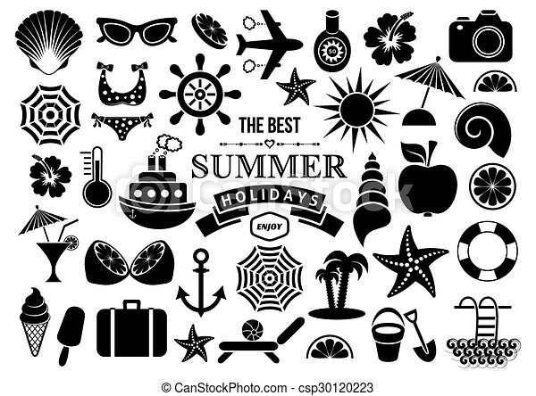 summer icons black vector summer icon silhouettes on white background https www canstockphoto com summer icons 30120223 html