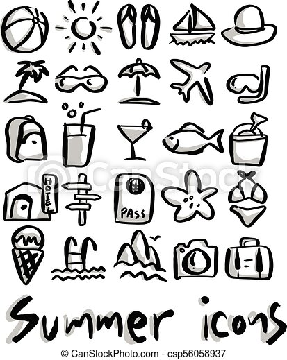summer icons with gray shadow vector illustration sketch hand drawn with black lines isolated on white background https www canstockphoto com summer icons with gray shadow vector 56058937 html